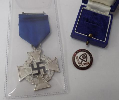 Genuine WWII era Nazi faithful service cross  medal & enamelled Nazi party badge