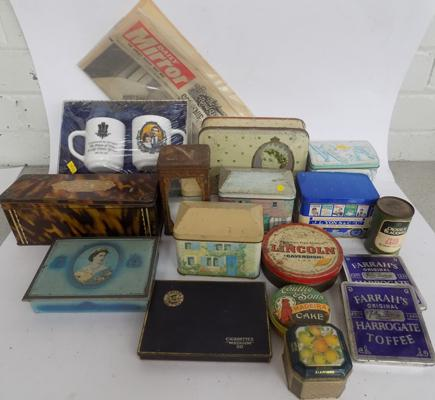 Selection of vintage tins & other mixed collectables