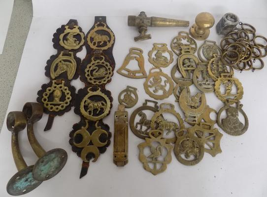 Selection of horse brasses & other brass items