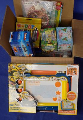 Box of mixed toys, incl. large Minion drawing board