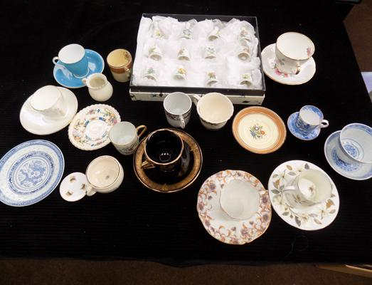 Selection of mini cups, saucers + bells, incl. Susie Cooper & Minton