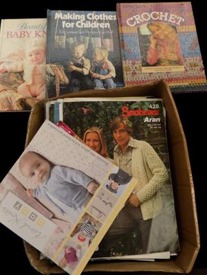 Selection of crochet & knitting patterns + books