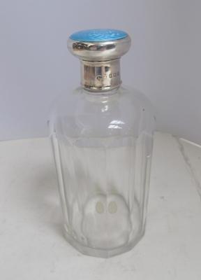"Sterling silver & enamel topped cut glass bottle-Birmingham 1926 6"" high, slight wear to enamel"