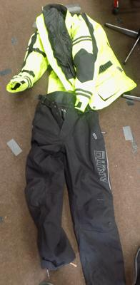 Yellow bike jacket and trousers