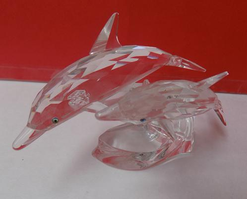 Swarovski crystal mother & baby dolphin riding a wave-no damage