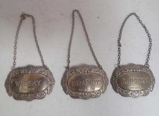 Set of 3 sterling silver decanter labels (whisky, brandy, sherry) Birmingham circa 1980