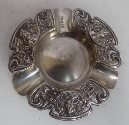 "Antique silver ashtray with Art Nouveau detail-Chester circa 1903. Approx 4.5"" diameter"