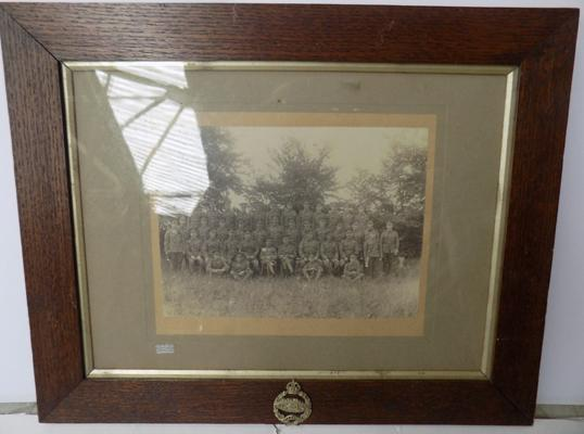 WWII Tank Regiment badge on frame of WWI photo