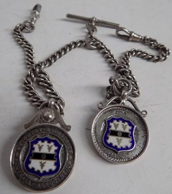 Solid silver Albert chain with 2 silver fobs Keighley football, circa 1920 Birmingham