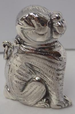 Silver vesta case-sitting dog-hallmark sterling