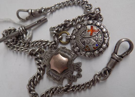Solid silver Albert chain-2 fobs-Bradford hospital fund + 1 other
