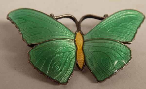 Sterling silver green & yellow enamelled butterfly brooch, hallmark sterling silver