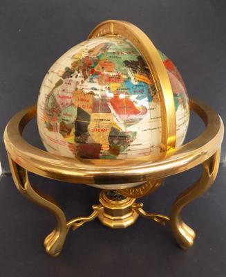 Mother of pearl gemstone globe