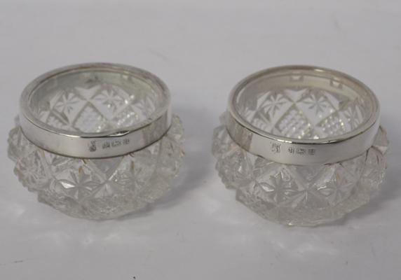 Pair of silver cut glass salts