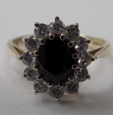 9ct gold large sapphire cluster ring, size O