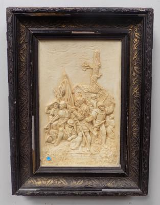 Clay picture of battle Scene - 'The Surrender' in vintage frame