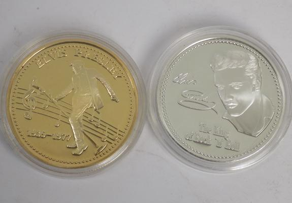 Two collectable coins - Elvis