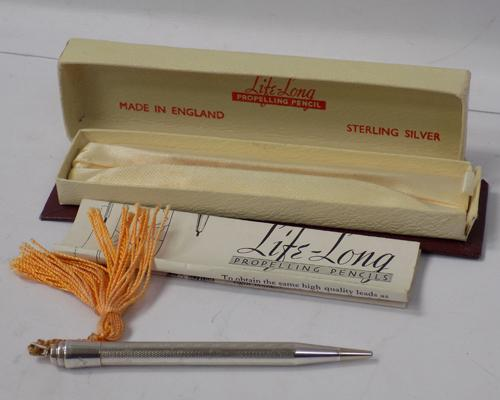 Boxed sterling silver vintage propelling pencil with instructions