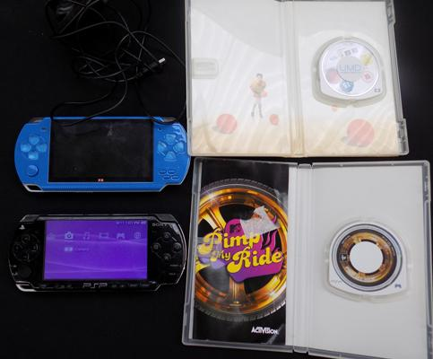 PSP & games & 'Model X6' PSP style console with games & charger