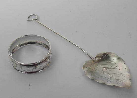 Solid silver napkin ring & silver spoon