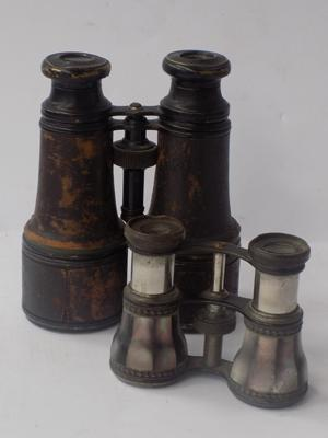 Two vintage mother of pearl & leather lined binoculars