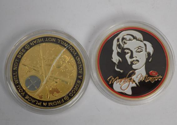 Two collectable coins - Marksman & Maralyn Monroe