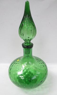 Ornate green coloured decanter