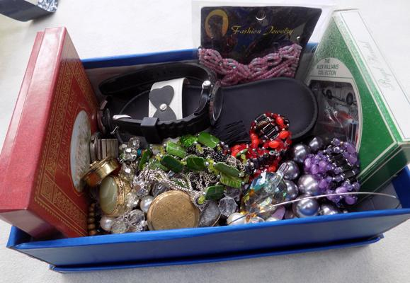 Selection of costume jewellery including watches and others