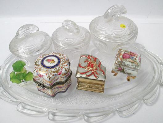 Selection of trinket boxes and cut glass dressing table set