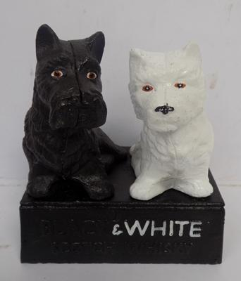 Cast iron Black and white scotch Whisky Door stop 13cm x 15cm