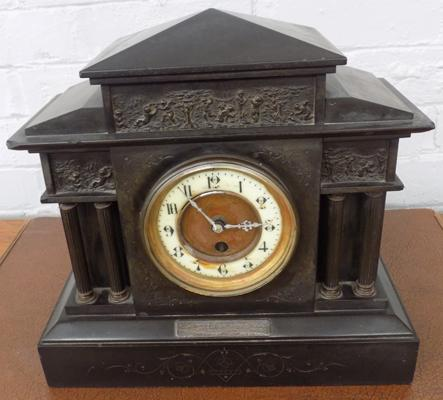 Vintage slate mantle clock with silver plaque ( NO KEY )
