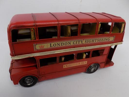Red tin plate London bus