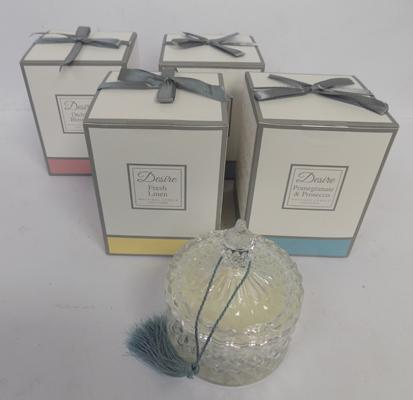 4 hand poured scented candles in glass decanters