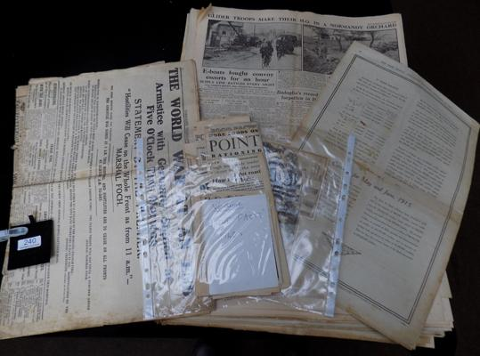 Collection of 1st world war newspapers and 2nd world war papers plus other ephemera