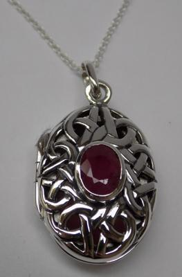 Silver & ruby Celtic locket on silver chain