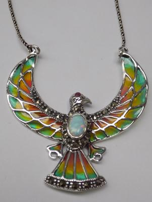 Silver & opal eagle necklace