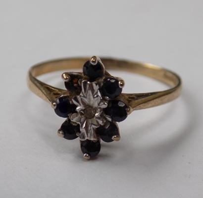 Vintage 9ct gold sapphire & diamond ring - approx. 1.2 grams