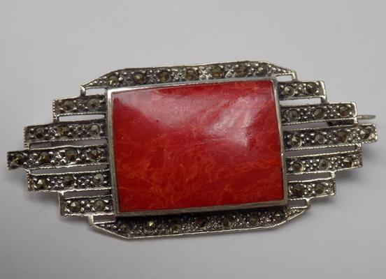 Art Deco style silver coral & marcasite brooch
