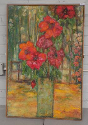 Large painting on canvas by Harrogate artist Margaret Stephenson-signed on back