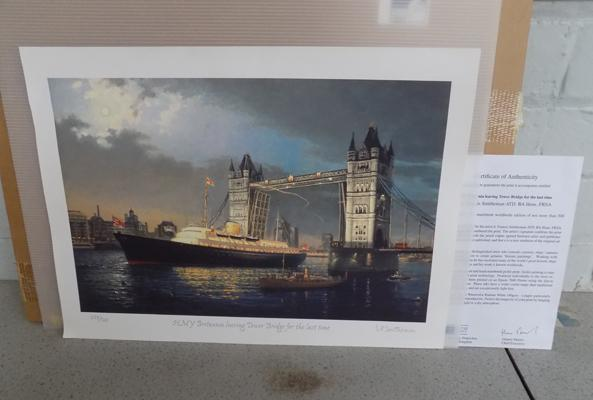 Limited edition signed print of HMY Britannia leaving Tower bridge for last time - with certificate of authenticity