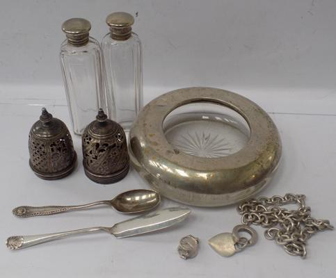Selection of silver on white metal items