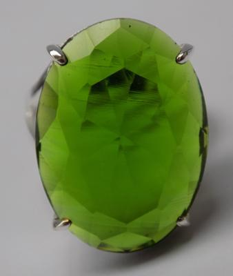 Silver solitaire green stone ring