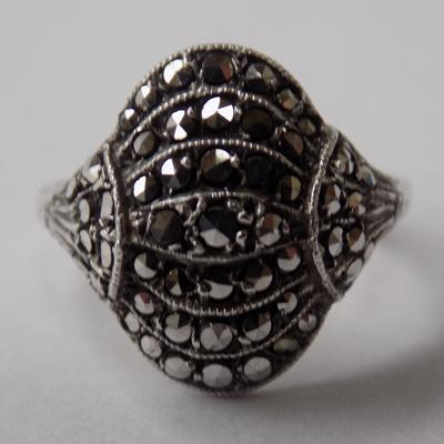 925 silver large marcasite ring - all stones present - size K