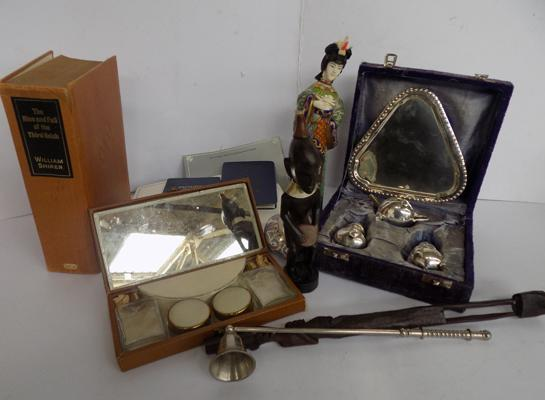 Box of collectables, incl. silver plate set, ephemera etc...