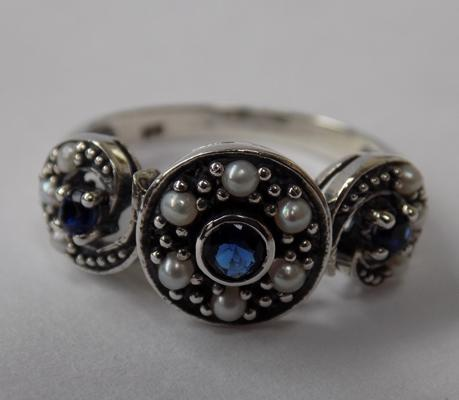 925 vintage style pearl & sapphire ring - size L