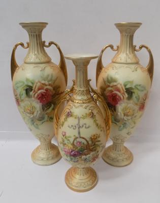 3x Royal Worcester style vases