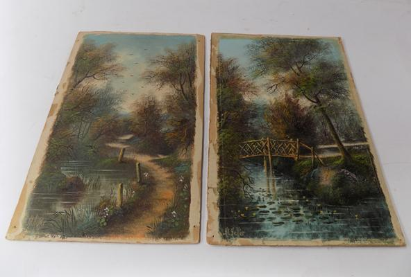 Two original paintings on board by H. L. Heller