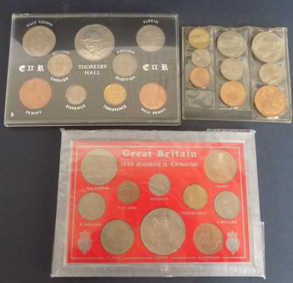 3 sets of cased coins