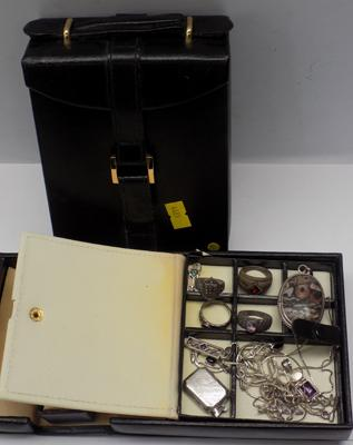 2x Vintage jewellery boxes-one containing silver jewellery
