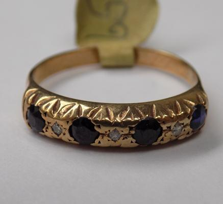Vintage 9ct gold sapphire & diamond ring, approx. 2 grams